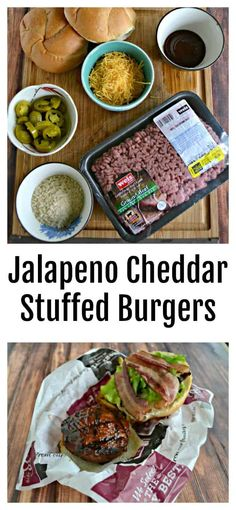 Jalapeno Cheddar Stuffed Burgers Best Beef Recipes, Burger Recipes, Wrap Recipes, Easy Recipes, Jalapeno Cheddar, Cheddar Cheese, Gourmet Burgers, Beef Burgers, How To Cook Burgers
