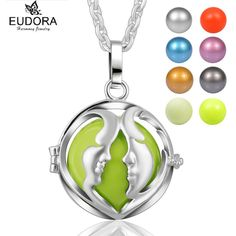 Retail Double Face Angel Caller Bola Pendant Fashion Copper Eudora Harmony Ball Locket Pendants Necklace Maternity Jewelry Gift