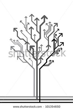 vector abstract background with tree made of arrows leading in different directions - stock vector