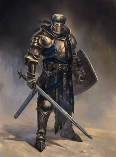 m Paladin Plate Helm Shield Sword midlvl fighter knight sword and board Medieval Knight, Medieval Armor, Medieval Fantasy, Armadura Medieval, Fantasy Armor, Dark Fantasy, Dnd Characters, Fantasy Characters, Fantasy Character Design