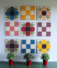 This set of nine barn mini barn quilts is hand painted and ready for use indoors or out. Each quilt block is made of solid wood and measures 12'...