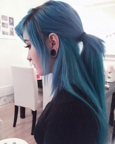 21 Blue Hair ideas that you'll love - Blue long hair extensions by krispuuh Informations About 21 Blue Hair ideas that you'll love Pin Y - Pelo Emo, Long Hair Cuts, Long Hair Styles, Long Hair Extensions, Coloured Hair, Dye My Hair, Pastel Hair, Pastel Goth, Aqua Hair