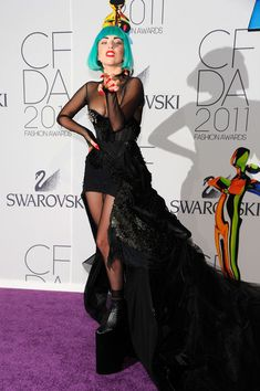 Lady Gaga green hair and amazing dress