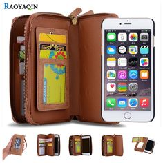 Luxury Business Women Man Wallet Leather Flip Case Cover For Coque iPhone 7 7 Plus 7Plus Multifunction Card Slots Phone Bag Case