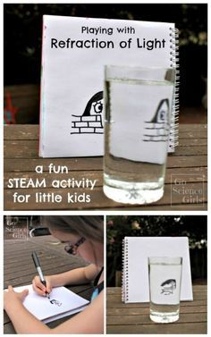 Playing with refraction of light a fun STEAM (or STEM + Art) activity for kids