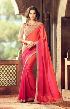 Price @4890.00 INR  Colour : Pink Saree Fabric : Fossil Georgette      Blouse Fabric : Fancy Blouse             Work :  Printed