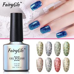 Promo FairyGlo Gel Varnish 10ML Sliver Bottle Soak Off UV Gel Nail Polish Super Bling Gelpolishes Primer. Click visit to check price #NailGel