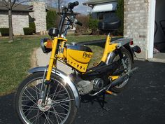 JC Penney Pinto Moped. I owned one of these back in the day! These are highly sought after because of the external gas tank. Most moped fuel tanks were built into the frame. Vintage Mopeds are also hopped up and used for racing. True Fact!
