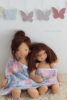 Early morning snuggles. Sisters by North Coast dolls