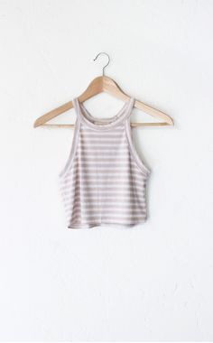 Striped Ribbed Halter Crop Top - Taupe