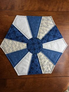 Quilted Blue Dresden Plate Table Topper by seaquilt on Etsy