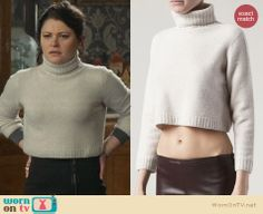 Belle's cropped turtleneck sweater on Once Upon a Time.  Outfit Details: http://wornontv.net/31025/ #OUAT