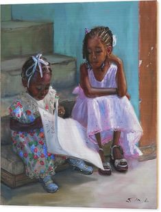 Children Wood Print featuring the painting Anna-Lisa and Danielle 2 by Jonathan Gladding Black Love Art, Black Girl Art, Art Girl, Black Girls, Black Art Painting, Black Artwork, African American Artwork, African Art, Arte Black