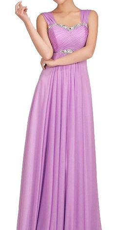 Wide Straps Sequin Neckline Chiffon Empire Waist Long Prom Dresses (US 6)