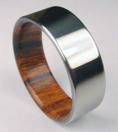 ring with a difference- titanium & rosewood
