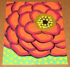 Red Flower painting idea for living room, looks kinda easy!
