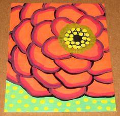 Red Flower painting idea for living room, looks kinda easy!