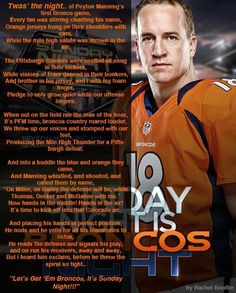 T'was the night - Peyton's first Broncos game.