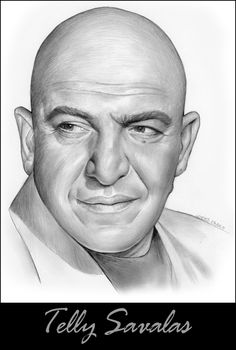 Pencil Drawings Telly Savalas by gregchapin on deviantART~ artist Greg Joens - Realistic Pencil Drawings, Pencil Drawing Tutorials, Amazing Drawings, Cartoon Drawings, Celebrity Drawings, Celebrity Caricatures, Celebrity Portraits, Pencil Portrait, Portrait Art