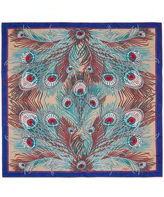 Turquoise Hera Print Silk Scarf, Liberty London