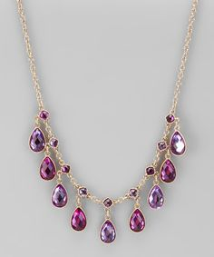 Take a look at this Purple & Gold Dainty Teardrop Necklace by Majestic on #zulily today!