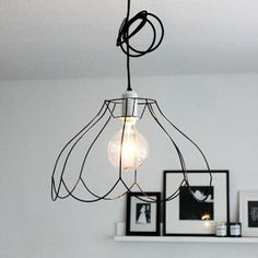 Grouping of pendant lights using old lampshade frames crafts diy diy trend to try strip curvy lampshades of their fabric and let the wire frames greentooth Gallery
