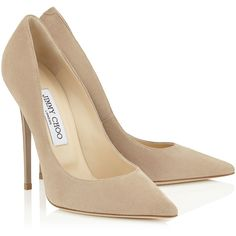 Nude Suede Pointy Toe Pumps ($535) ❤ liked on Polyvore featuring shoes, pumps, heels, nude, suede leather shoes, pointed toe pumps, nude court shoes, heel pump and nude suede shoes