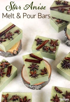 These Star Anise Soap Bars are colored with clay and scented with a blend of orange and anise essential oils. Star anise and cinnamon embeds on top give these bars a rustic look.Star Anise Melt & Pour Bar Tutorial - Soap QueenTamari S Diy Cosmetic, Green Soap, Homemade Soap Recipes, Homemade Soap Bars, Homemade Soy Candles, Bath Recipes, Star Anise, Bath Soap, Home Made Soap