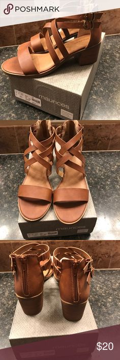 Sandals Brown stacked heel. New, never worn only tried on. Maurices Shoes Sandals