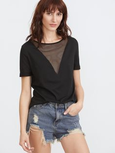 97032c17e39 Online shopping for Black Eyelet Mesh V Neck T-shirt from a great selection  of