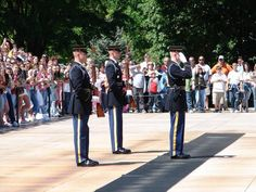 Changing of the Guard | The Tomb of the Unknown Soldier is guarded 24 hours a day and each hour (each half-hour in summer) there is a changing of the guard ceremony with a special march and salute. | Arlington National Cemetery
