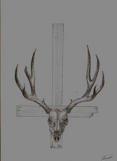 deer skull tattoo idea