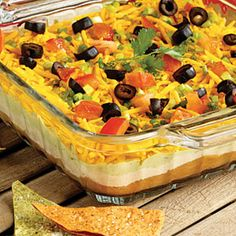 7-Layer Mexican Dip Recipe Appetizers with refried beans, sour cream, taco seasoning mix, avocado, lemon juice, garlic, shredded cheddar cheese, green onions, black olives, tomatoes, tortilla chips