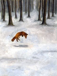 fox in winter painting