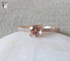Morganite Engagement Ring- Classic Morganite Promise Ring- Rose Gold Promise Ring- Rose Gold Morganite Ring- Round 4 Prong Ring - Wedding and engagement rings (*Amazon Partner-Link)