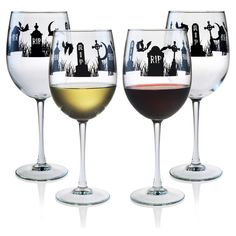 Halloween RIP 19 oz. Wine Glasses in Black ($29) ❤ liked on Polyvore featuring home, kitchen & dining, drinkware, black drinkware, wine glasses, wine glass, halloween wine glasses and colored wine glass