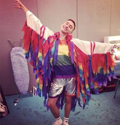 Rainbow outfit Glasto 2016