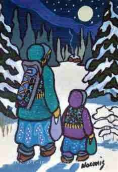 """Visiting Friends"" is a painting by Nokomis about counteracting loneliiness in the bush north of Lake Superior. Woodland Art, Living Off The Land, Distinguish Between, Native American Women, Lake Superior, Native Art, First Nations, Real People, Smurfs"