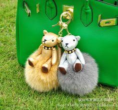 Bomgom Over size Teddy Bear Toys Fluffy Fox Fur Ball Pom Pom Keychain Bags Hanger Charms Key Ring For Women Key Chain f368