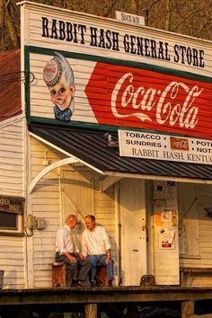 The Old Country Store.Country gentlemen enjoying casual conversation on porch of Rabbit Hash General Store, KY Looks Country, Country Life, Country Roads, Country Living, Old General Stores, Old Country Stores, Drive In, The Animals, Photos Originales