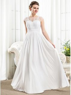 Wedding Dresses - $169.99 - A-Line/Princess Scoop Neck Floor-Length Chiffon Wedding Dress With Ruffle Beading Appliques Lace Sequins  http://www.dressfirst.com/A-Line-Princess-Scoop-Neck-Floor-Length-Chiffon-Wedding-Dress-With-Ruffle-Beading-Appliques-Lace-Sequins-002056526-g56526
