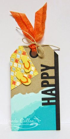 Happy Beach Tag by cullenwr - Cards and Paper Crafts at Splitcoaststampers Paper Pop, Nautical Cards, Beach Cards, Ribbon Banner, Paper Tags, Holiday Cards, Gift Tags, Cardmaking, Designer