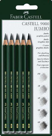 Faber-Castell 119397 Crayons graphite CASTELL 9000 Jumbo blister 5 (HB, 2B, 4B, 6B, 8B)