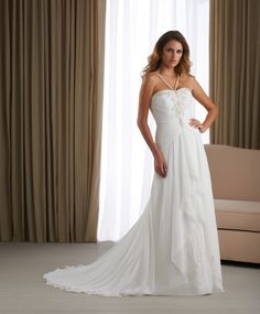 Affordable Chiffon Wedding Gown Combines Spaghetti Straps Ruching Skirt
