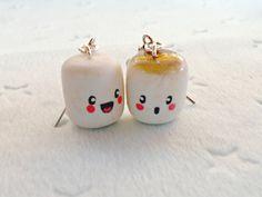 Cute Kawaii Marshmallow Earrings.. Choice of Sterling Silver Cute Earrings, Ring Earrings, Clip On Earrings, Etsy Earrings, Cute Polymer Clay, Cute Clay, Polymer Clay Earrings, Diy Clay, Cute Jewelry