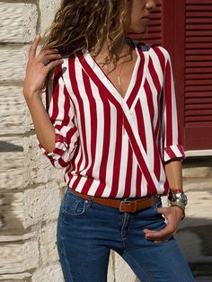 Buy Women Striped Blouse Shirt Long Sleeve Blouse V-neck Shirts Casual Tops Blouse et Chemisier Femme Blusas Mujer de Moda 2019 - Red - and Find more Women's Blouses & Shirts enjoy up to off. Striped Long Sleeve Shirt, Long Sleeve Tops, Long Sleeve Shirts, Striped Shirts, Robes Tutu, Casual Tops, Casual Shirt, Trendy Tops, Shirt Blouses