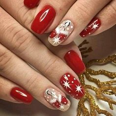 Chic Nails, Classy Nails, Fancy Nails, Trendy Nails, Christmas Gel Nails, Christmas Nail Art, Holiday Nails, Xmas Nail Designs, Nail Art Designs Videos