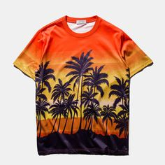 Summer Mens Cool Palm Trees Printing Breathable Quick Dry Round Neck Short Sleeved T-Shirts