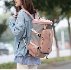 Women Gym Bag Backpack. #gymlife #gymfashion #womenfashion Travel Handbags, Travel Bags, Backpack Bags, Leather Backpack, Martial Arts Gear, Shoulder Backpack, Gym Style, Luggage Bags, Gym Bag