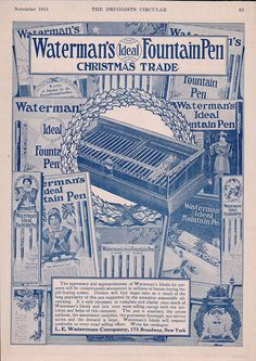 1913 Print Ad Watermans Ideal Fountain Pen Christmas Trade Supremacy Appropriate www.advintageplus.com